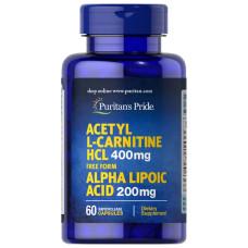Acetil L-Carnitina Free Form 400 mg com Ácido Alfa Lipoico 200 mg